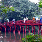 A bridge across to a temple on a small island in Hoam Kien Lake