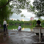 A beautiful place for a morning walk, sit or fish. Hoan Kiem Lake.